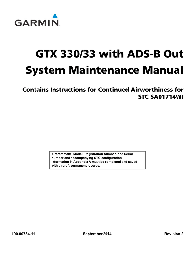 GTX 330/33 with ADS-B Out System Maintenance Manual Contains