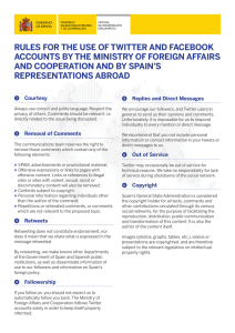 rules for the use of twitter and facebook accounts by the ministry of