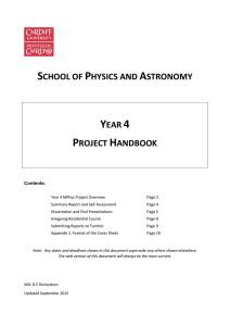 Year 4 Project Handbook - School of Physics and Astronomy