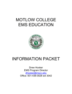 MOTLOW COLLEGE EMS EDUCATION INFORMATION PACKET