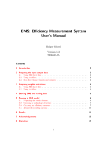 EMS: Efficiency Measurement System User`s Manual
