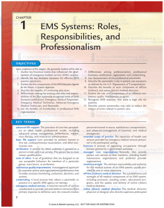 Chapter 1: EMS Systems: Roles, Responsibilities, and Professionalism