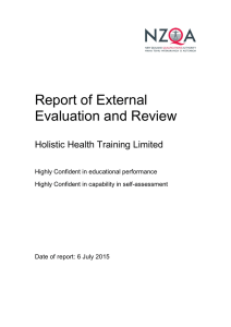 Report of External Evaluation and Review