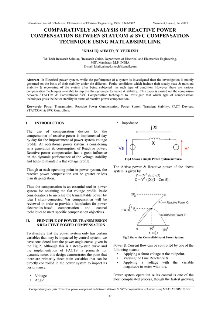 comparatively analysis of reactive power compensation between