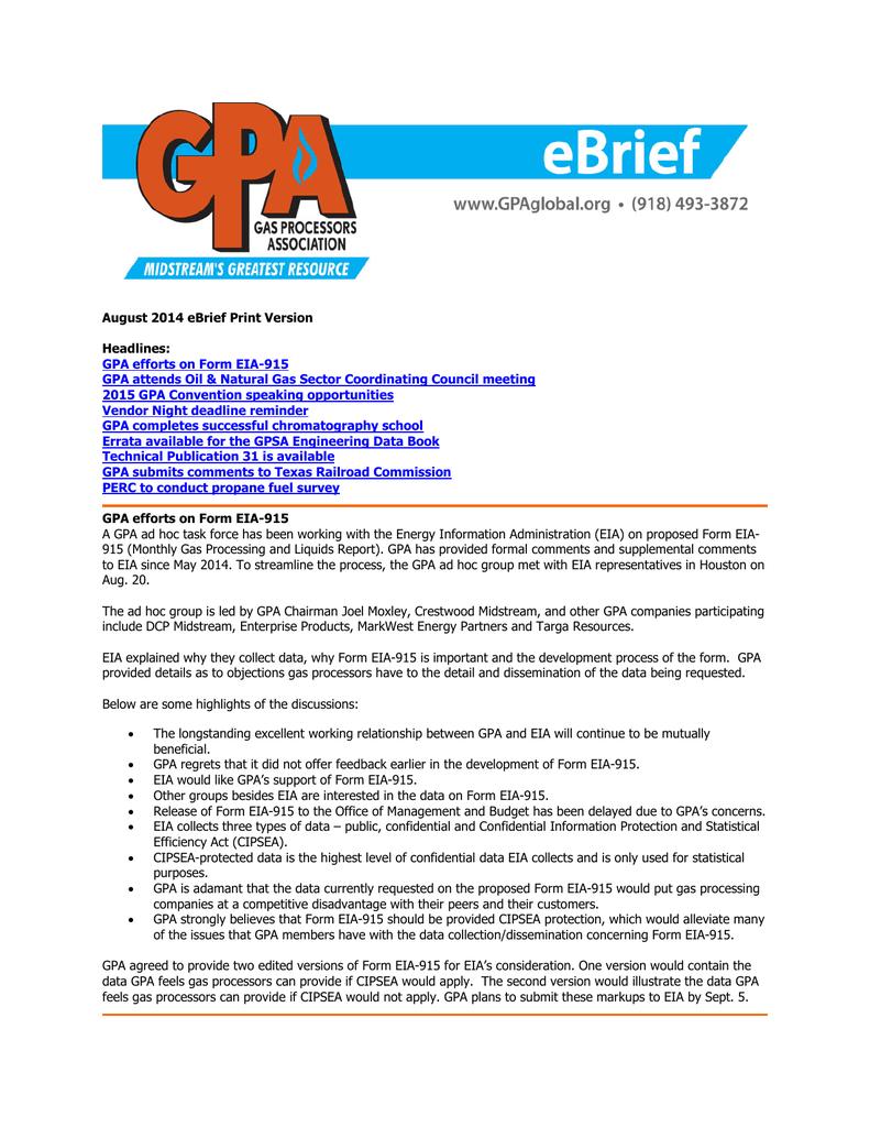 August - GPA Midstream Association