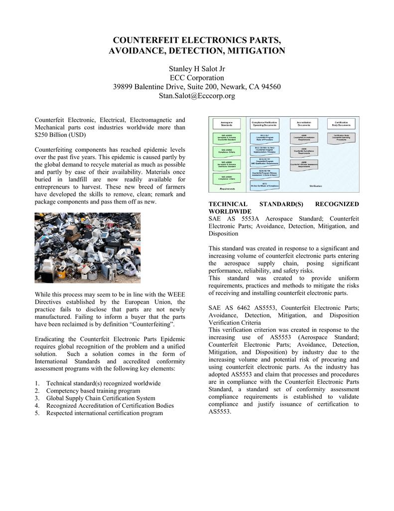 counterfeit electronics parts, avoidance, detection, mitigation