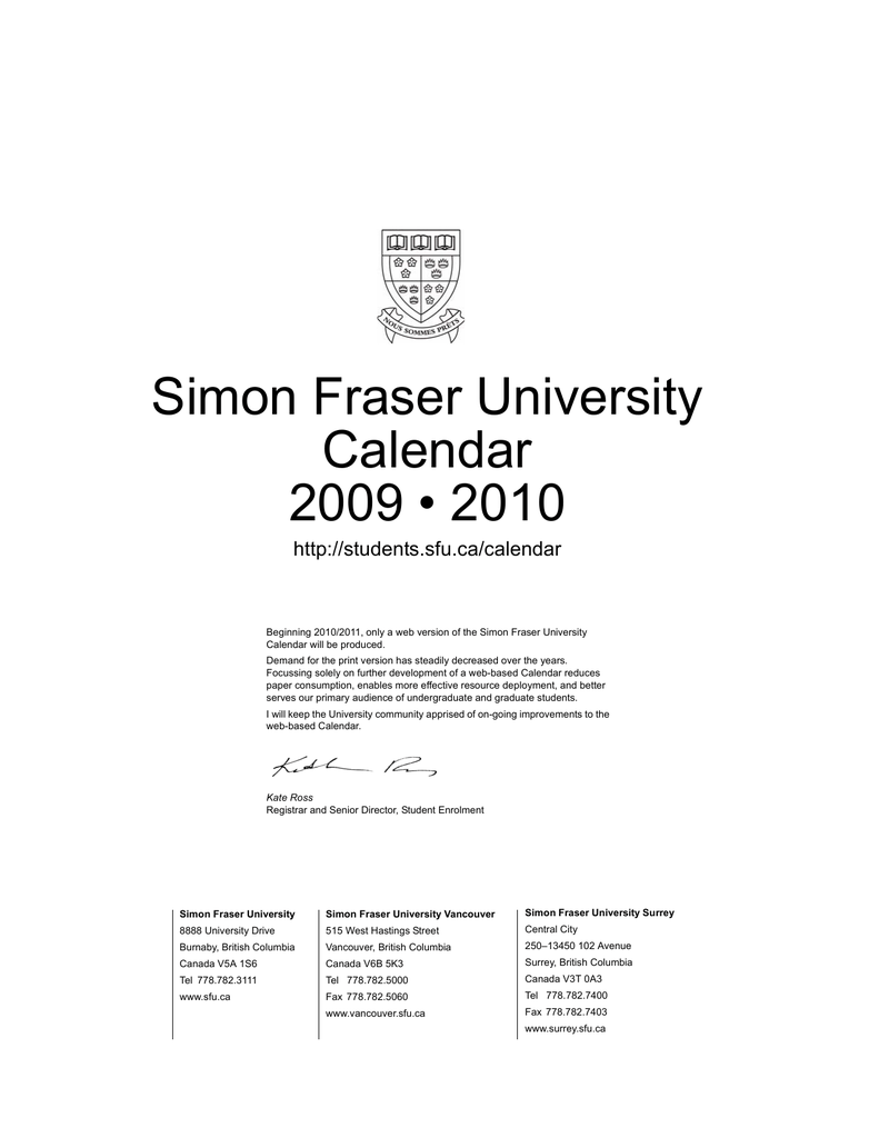 Tufts Academic Calendar.Simon Fraser University Calendar 2009 2010