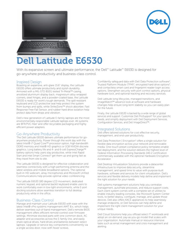 Latitude E6530 Spec Sheet