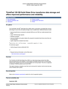 ThinkPad 128 GB Solid State Drive transforms data storage