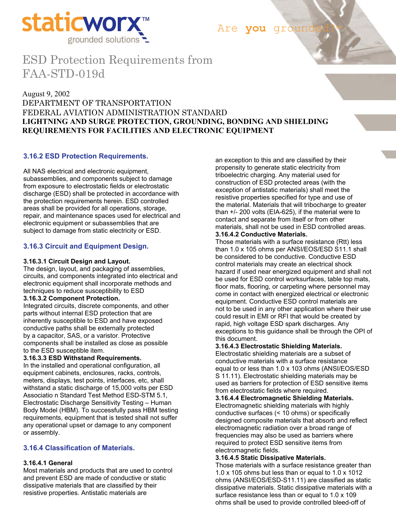 ESD Protection Requirements from FAA-STD-019d