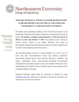 "POST-DOC POSITION in ""PHYSICAL SENSOR MICROSYSTEMS"