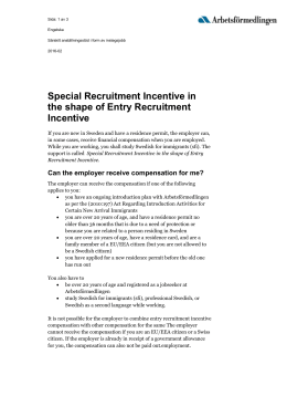 Special Recruitment Incentive in the shape of