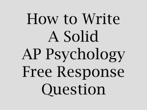 How to Write A Solid AP Psychology Free Response Question