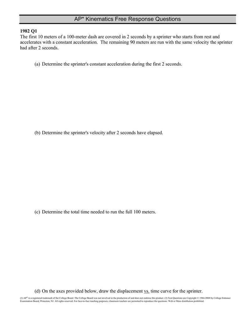 AP* Kinematics Free Response Questions