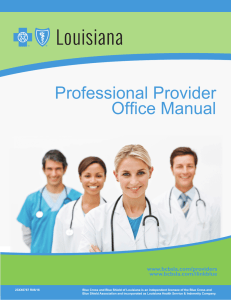 Professional Provider Office Manual - BCBSLA