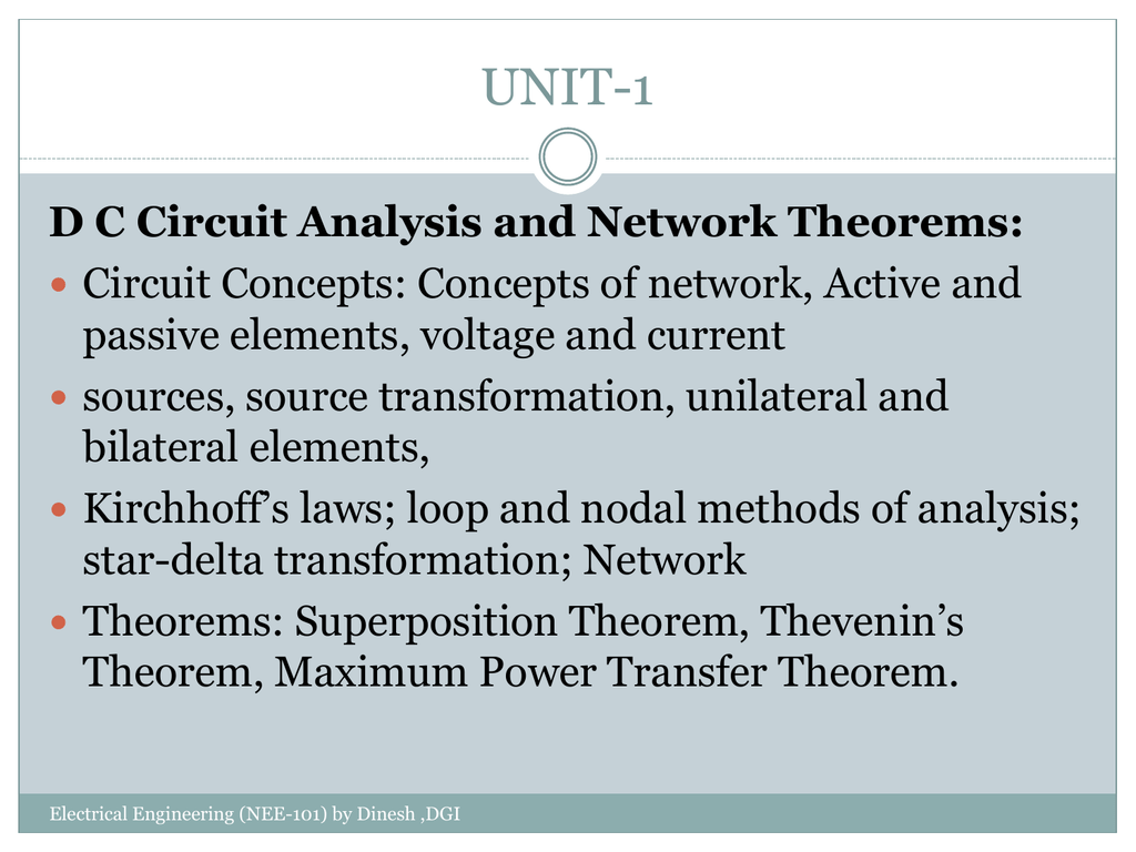 D C Circuit Analysis and Network Theorems