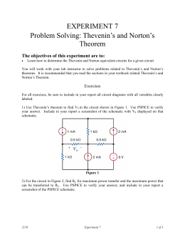 EXPERIMENT 7 Problem Solving: Thevenin`s and Norton`s Theorem