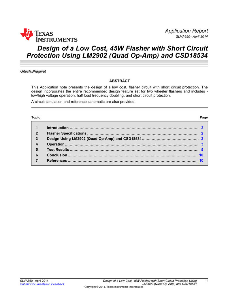 Design Of A Low Cost 45w Flasher With Short Circuit Protection By Ti