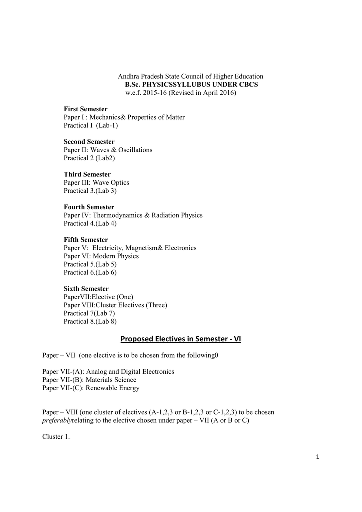 15 BSc Physics CBCS Syllabus Full 2015