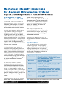 Mechanical Integrity Inspections for Ammonia Refrigeration Systems
