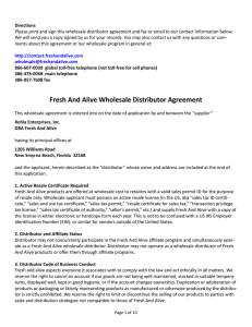 Fresh And Alive Wholesale Distributor Agreement