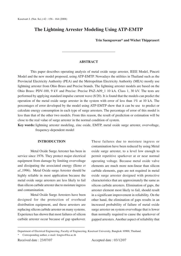 The Lightning Arrester Modeling Using ATP-EMTP