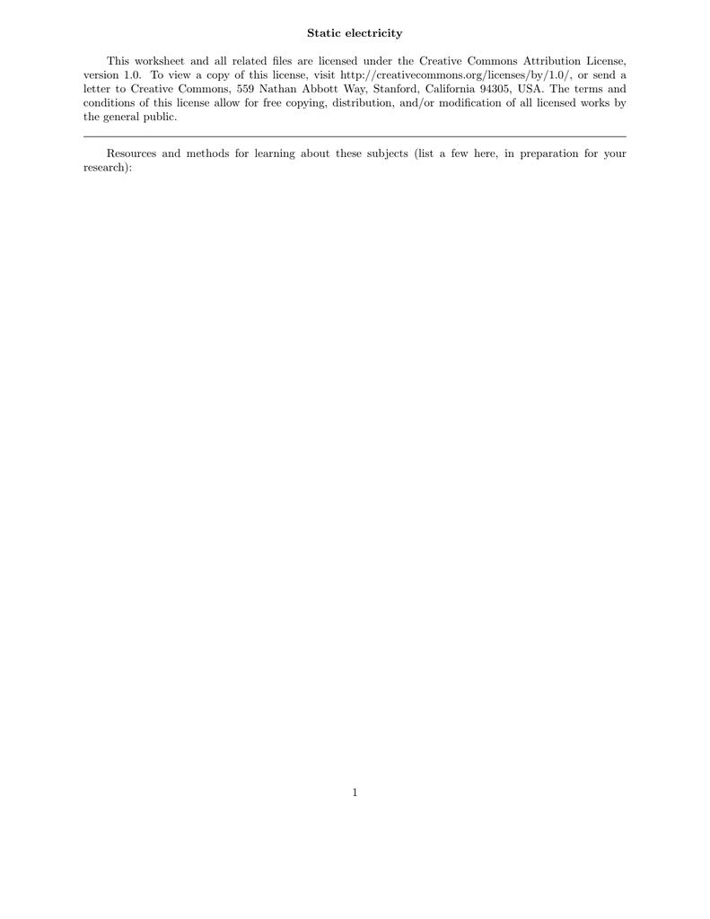 Worksheets Static Electricity Worksheet static electricity this worksheet and all related files are licensed