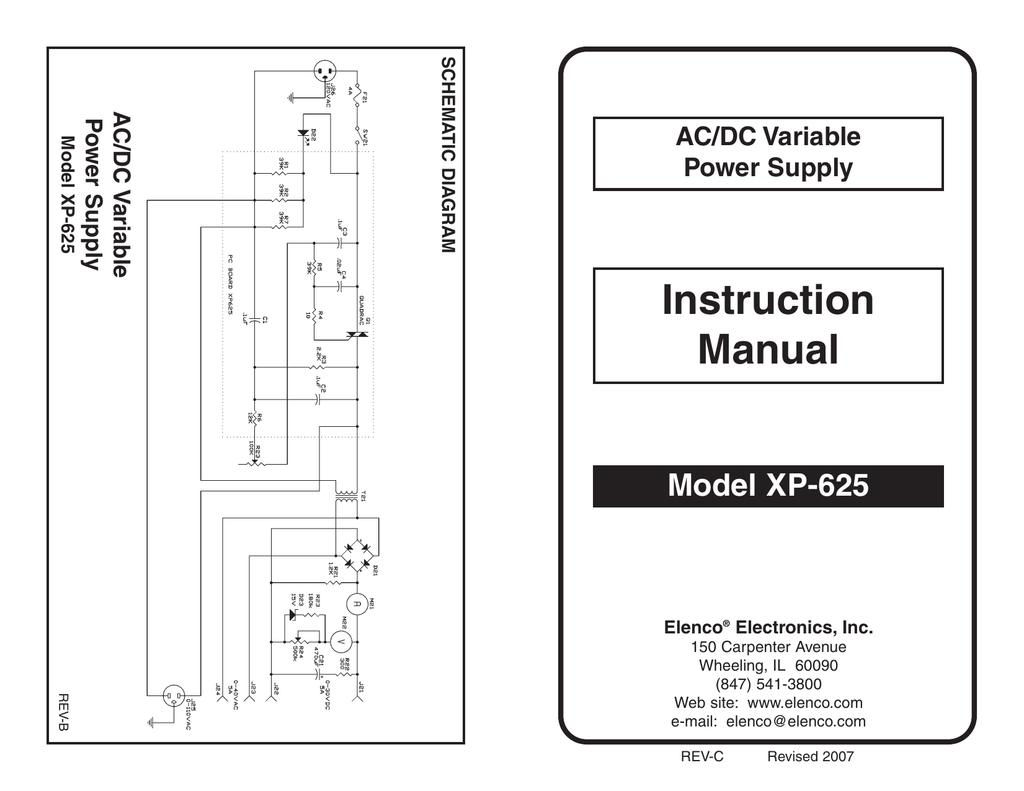 Elenco Xp 625 Ac Dc Variable Voltage Power Supply Manual