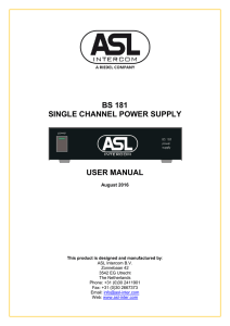 BS 181 SINGLE CHANNEL POWER SUPPLY USER MANUAL