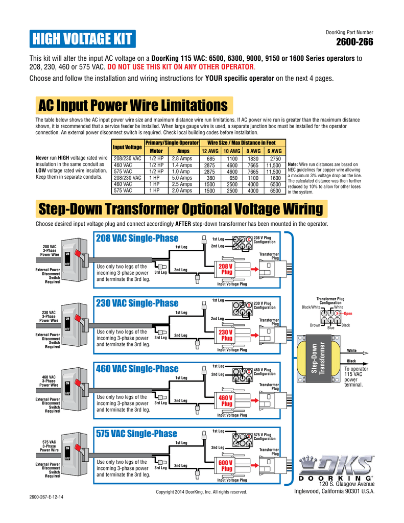 230 Vac Single Phase Plug Wiring Schematic Diagrams 208 Diagram Hp S Fixture High Voltage Kit Step Down Transformer Optional Different Phases Of Electricity