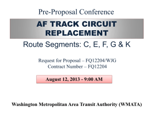 AF TRACK CIRCUIT REPLACEMENT Route Segments: C, E, F, G
