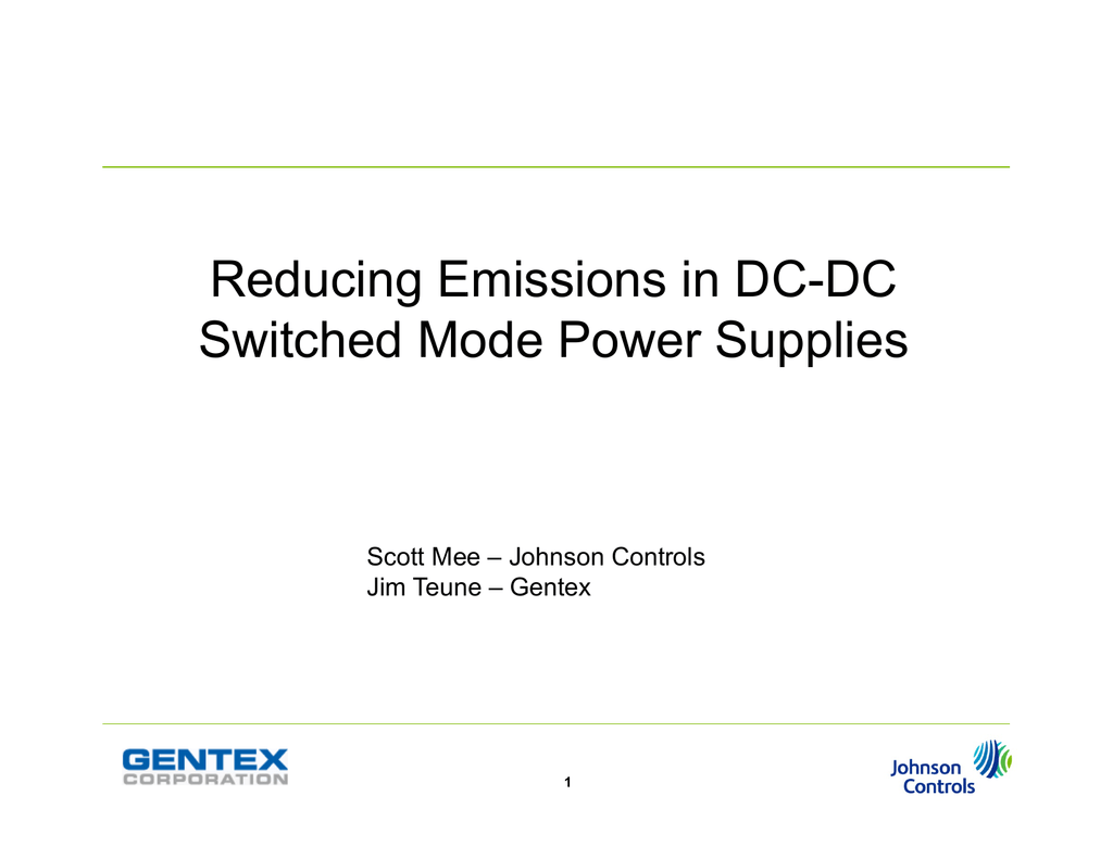 Reducing Emissions in DC-DC Switched Mode Power Supplies