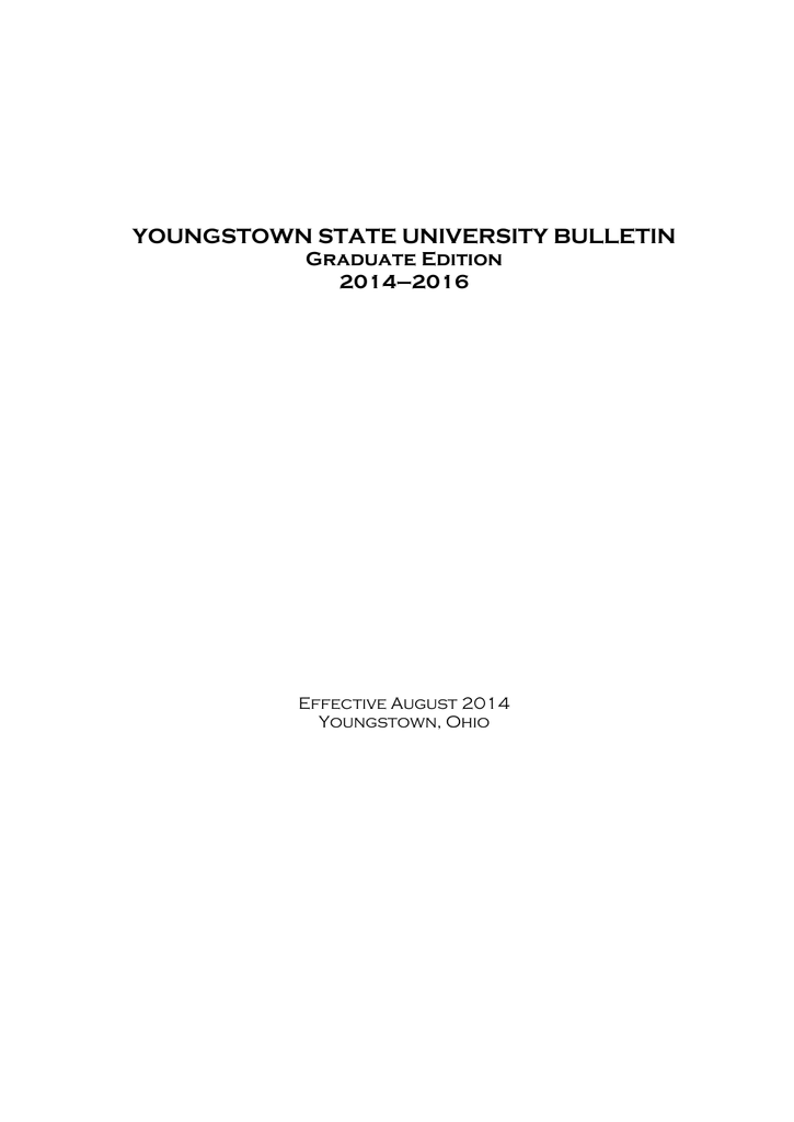 Graduate Bulletin - Youngstown State University on