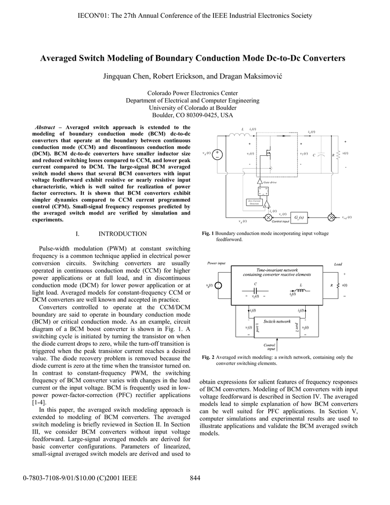 Averaged Switch Modeling of Boundary Conduction Mode Dc-to