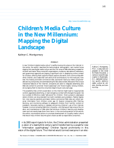 Children`s Media Culture in the New Millennium