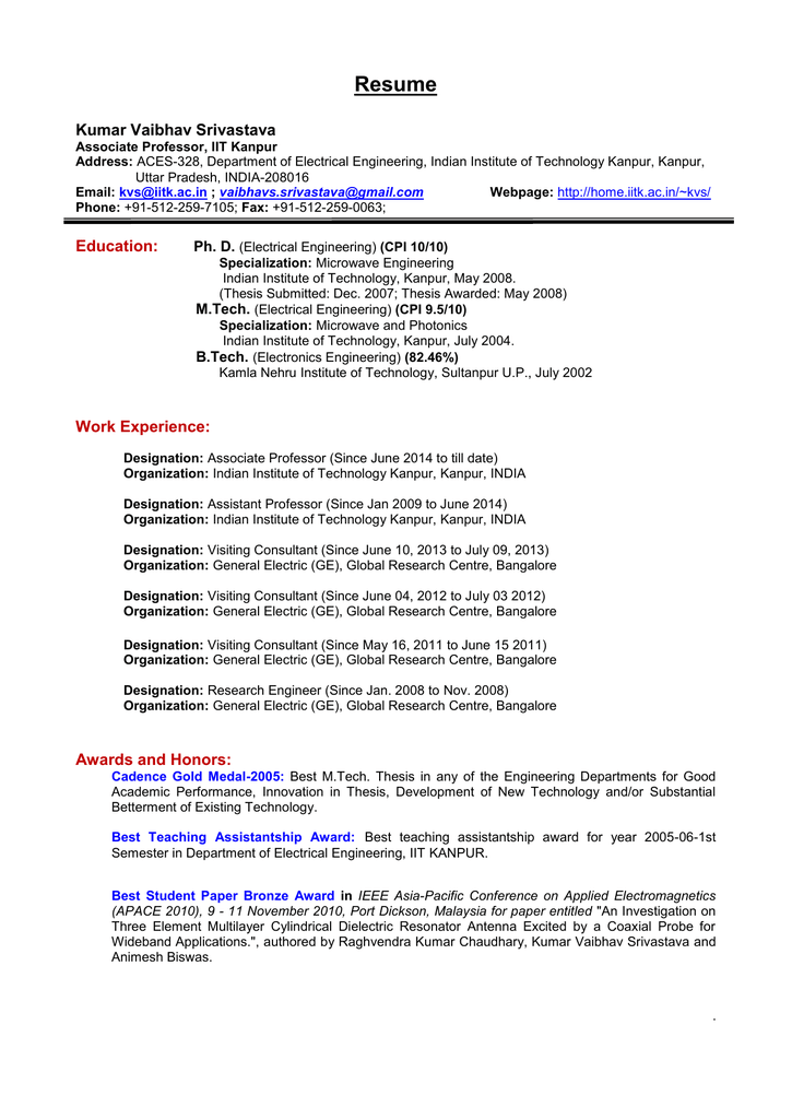 Curriculum Vitae - IITK - Indian Institute of Technology Kanpur