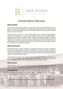 Warranty Information - ARK Ramos Signage Systems