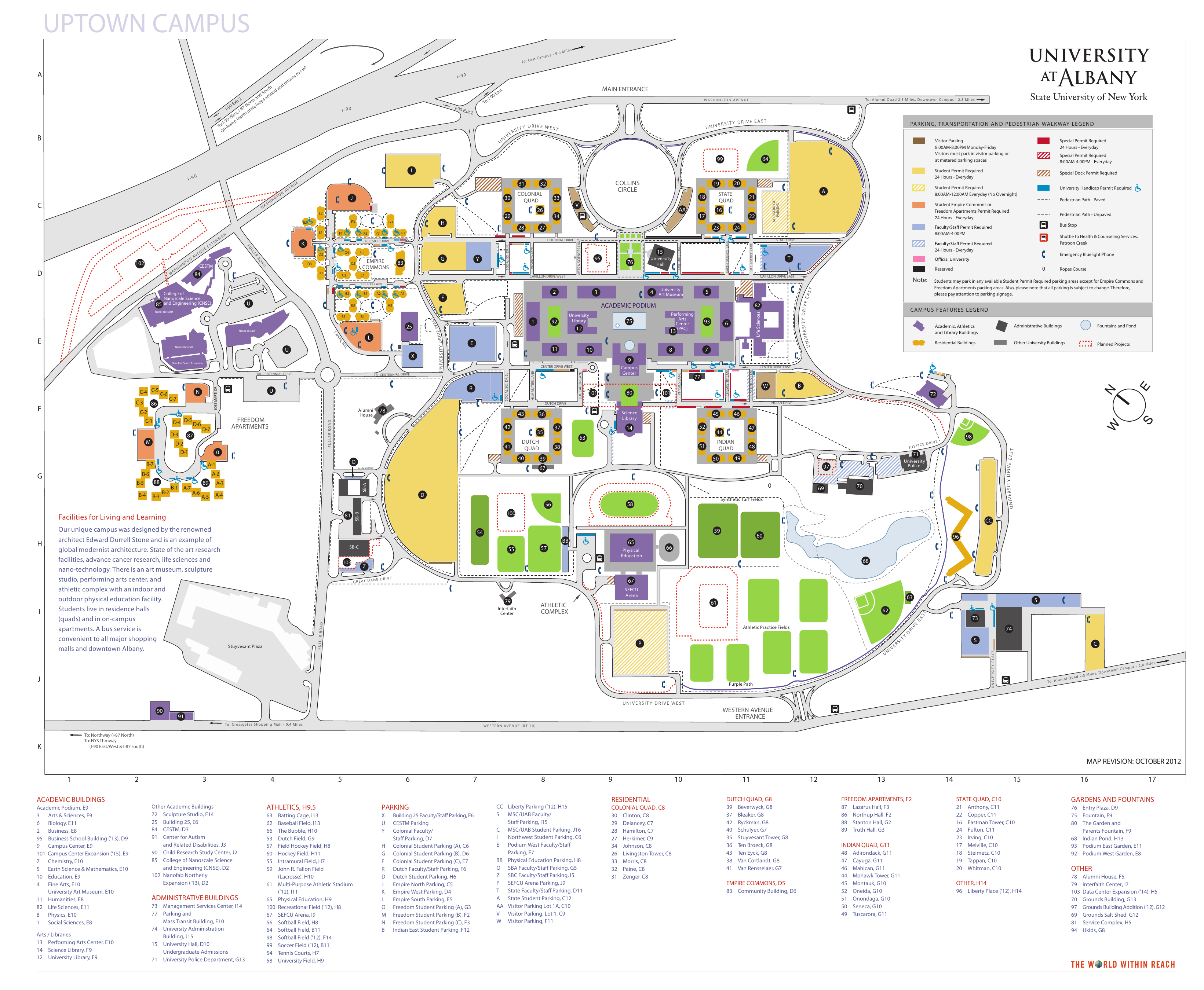 Ualbany Downtown Campus Map.Ualbany Campus Map Front