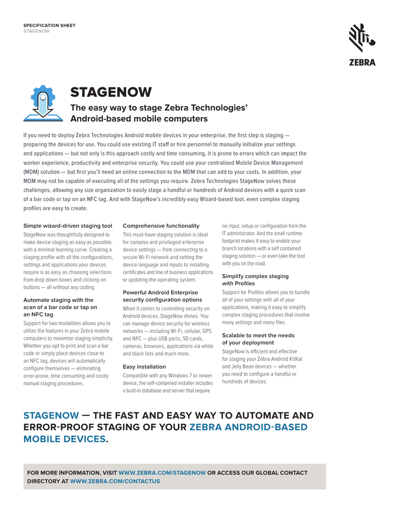 StageNow Specifications Sheet