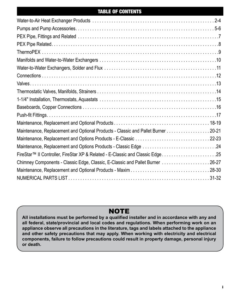 central boiler parts catalog