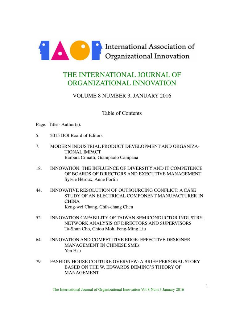 The International Journal Of Organizational