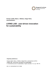 LIVING LAB: user-driven innovation for sustainability