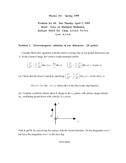 Physics 511 Spring 1999 Problem Set #8: Due Monday April 5, 1999
