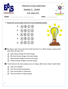 Elementary Science Department Semester 2 Grade4 HW Sheet (9.1)
