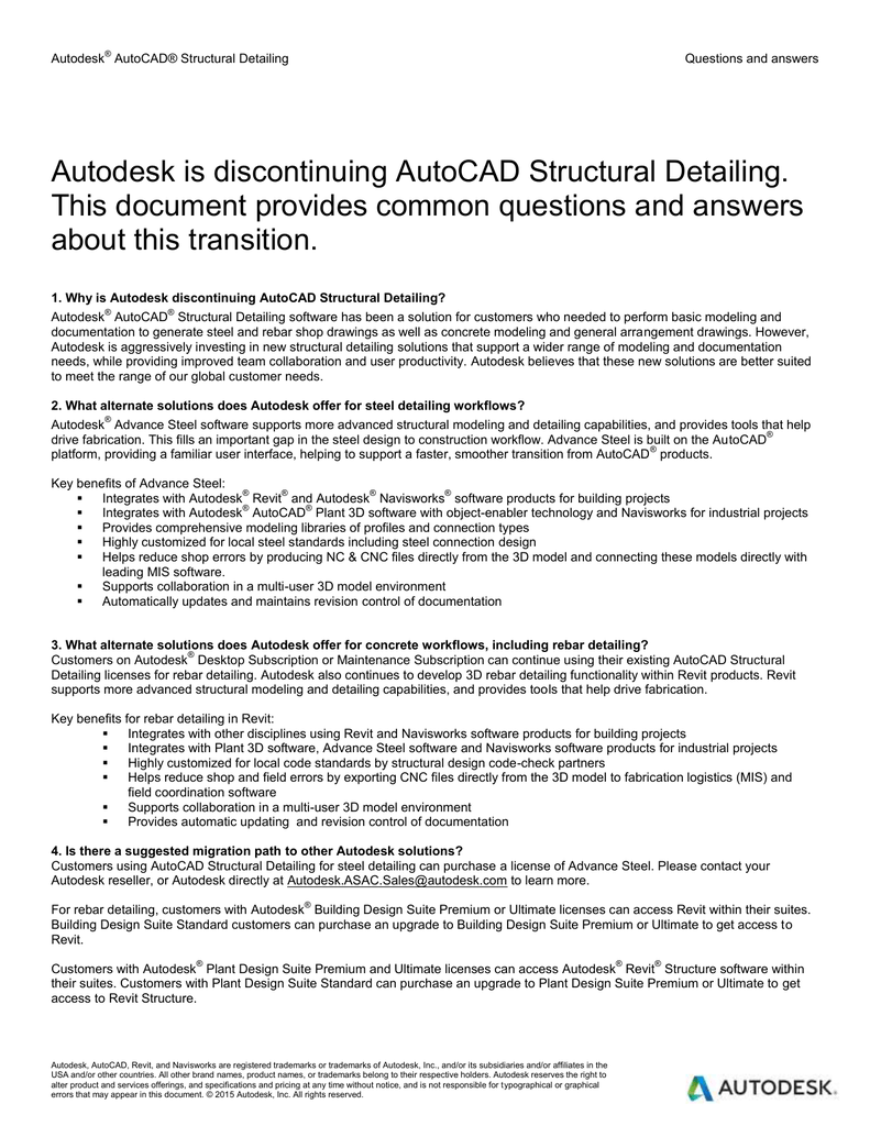 Autodesk Is Discontinuing Autocad Structural Detailing This