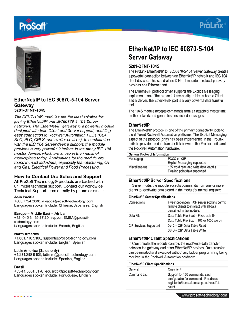 DFNT 104S Datasheet - ProSoft Technology