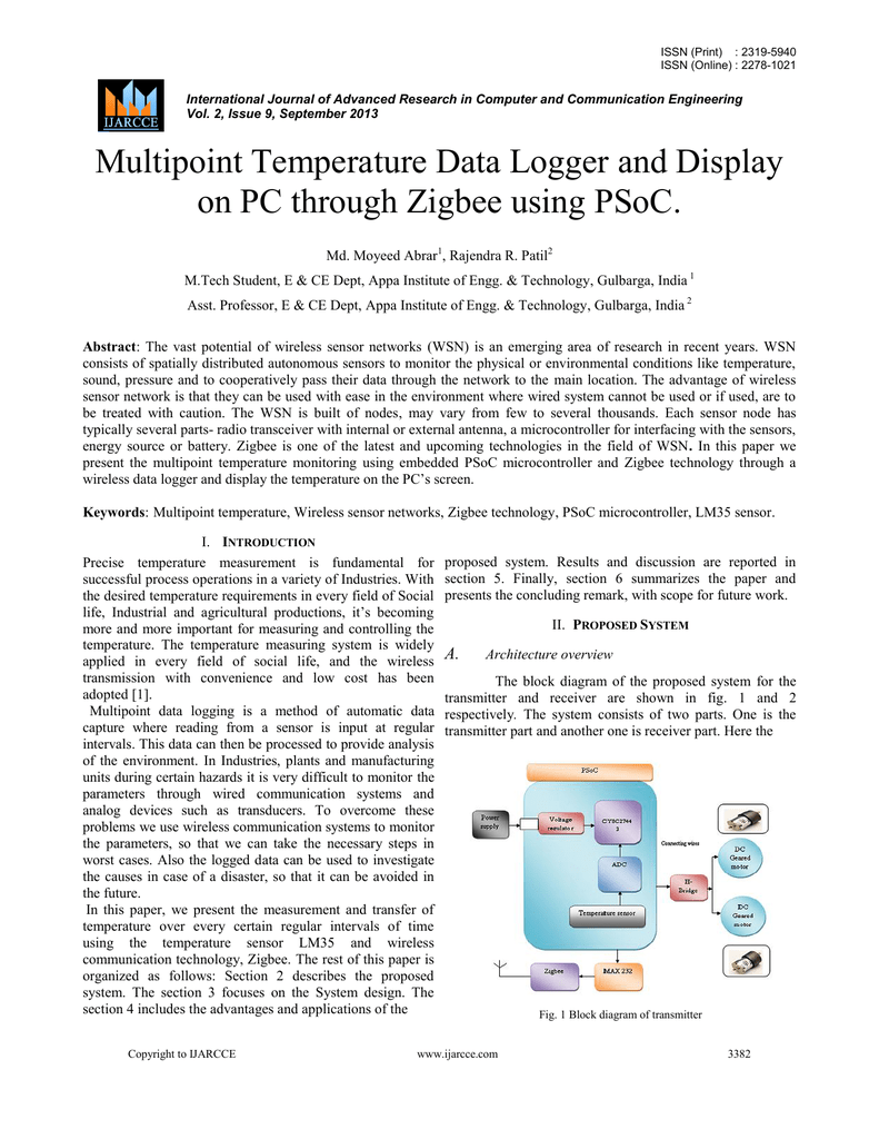 Multipoint Temperature Data Logger And Display On Pc Through Circuit Diagram Of Zigbee Transmitter