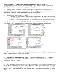 ECE 1250 Midterm 4 – Exam Topics: Capacitors and Inductors