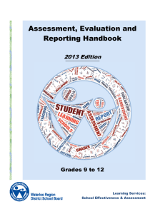 Assessment, Evaluation and Reporting Handbook