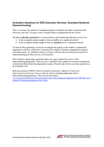 Homeschooling evaluation questions Oct 2015